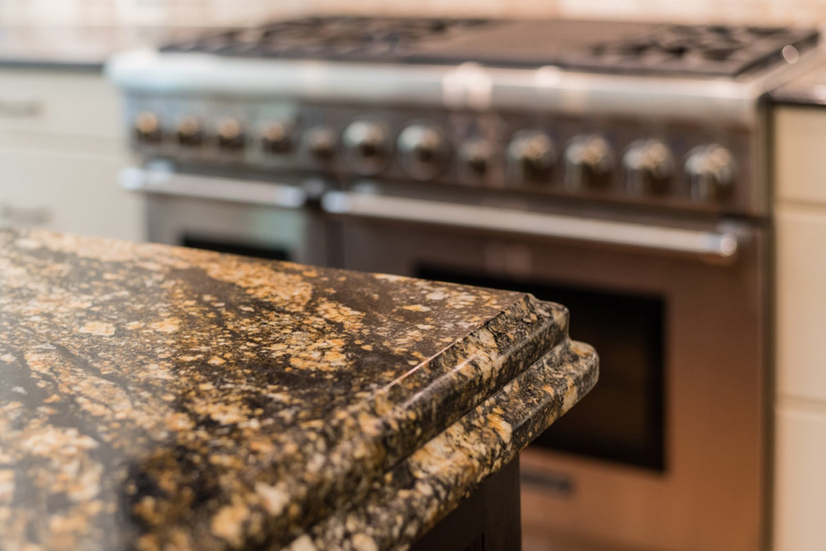 Granite Countertop Close Up Of Texture Pattern And Bevel Edges
