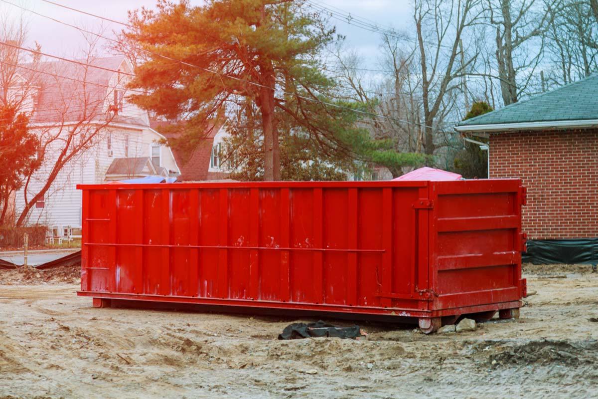 30 Yard Residential Dumpster Rental In Front Yard