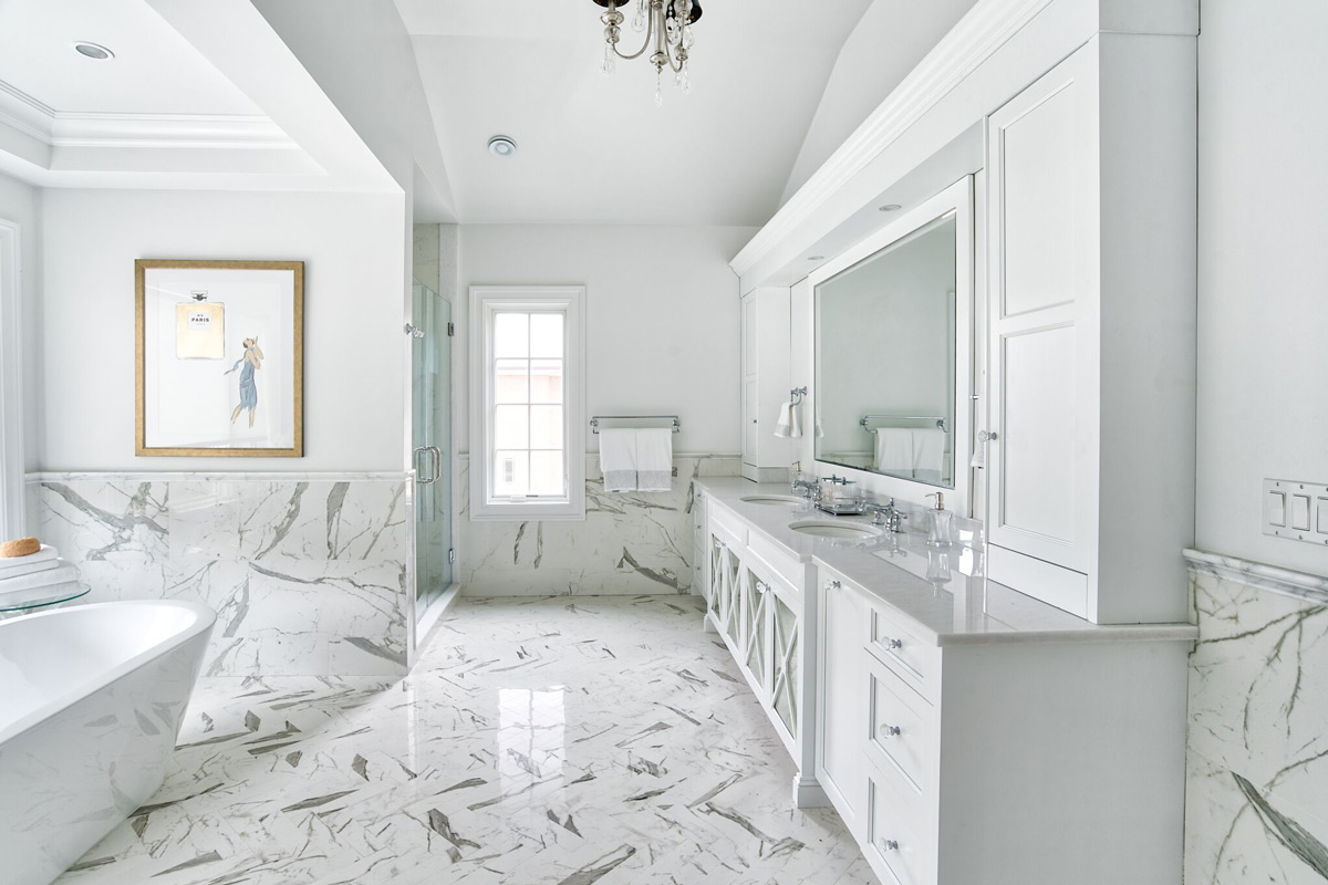 Master Bathroom Remodel - All white, custom-designed vanity
