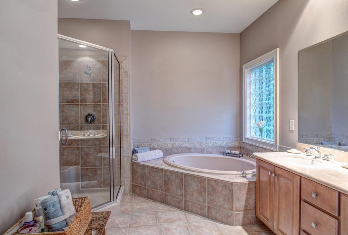 Beautiful Bathroom Addition With Whirlpool Bathtub and Walk-in Shower
