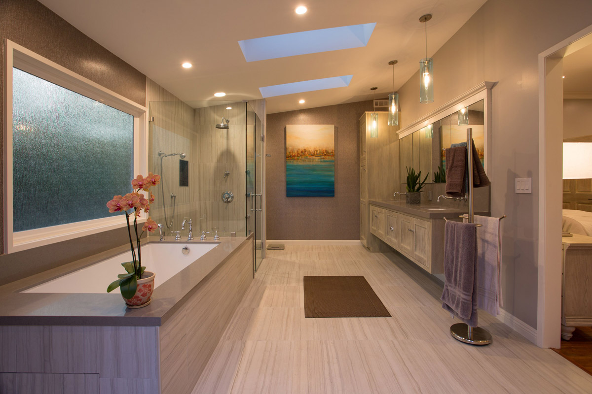 Custom Bathroom Remodel with Private Patio Addition and Custom Fixtures.
