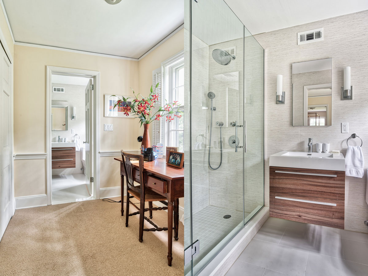Full Bathroom Remodel - Floating vanity, glass shower doors, and waiting room