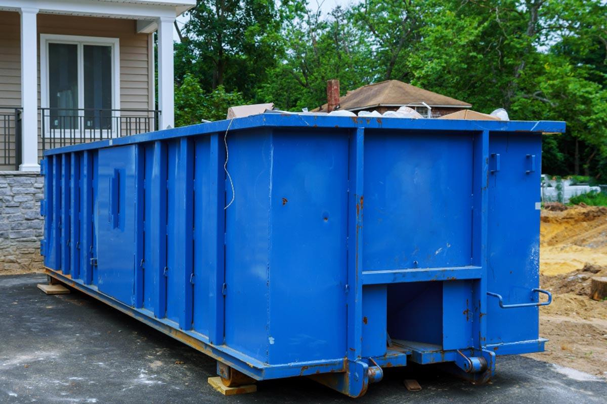 Blue 40 Yard Construction Dumpster Rental For Home Remodeling