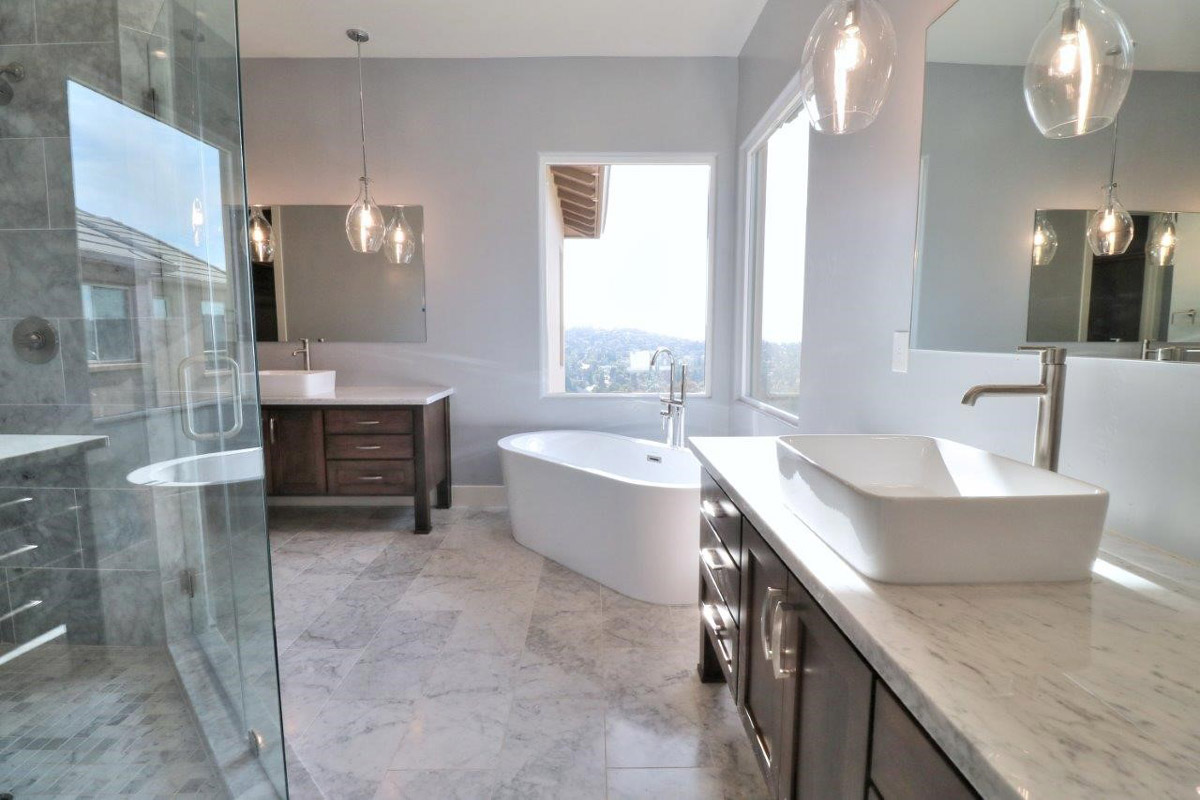Master Bathroom Remodel with Freestanding tub, Granite, Tile flooring, large windows