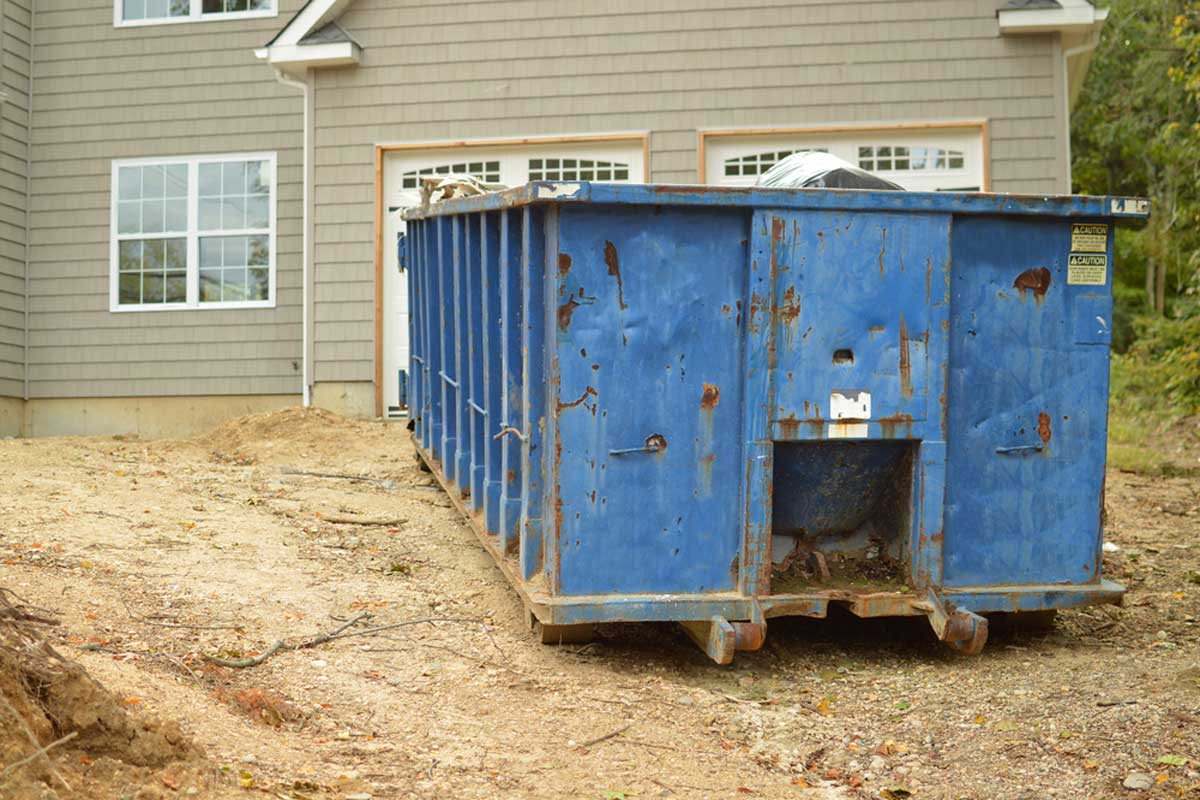 New Home Construction With 40 Yard Dumpster Rental In Front Yard