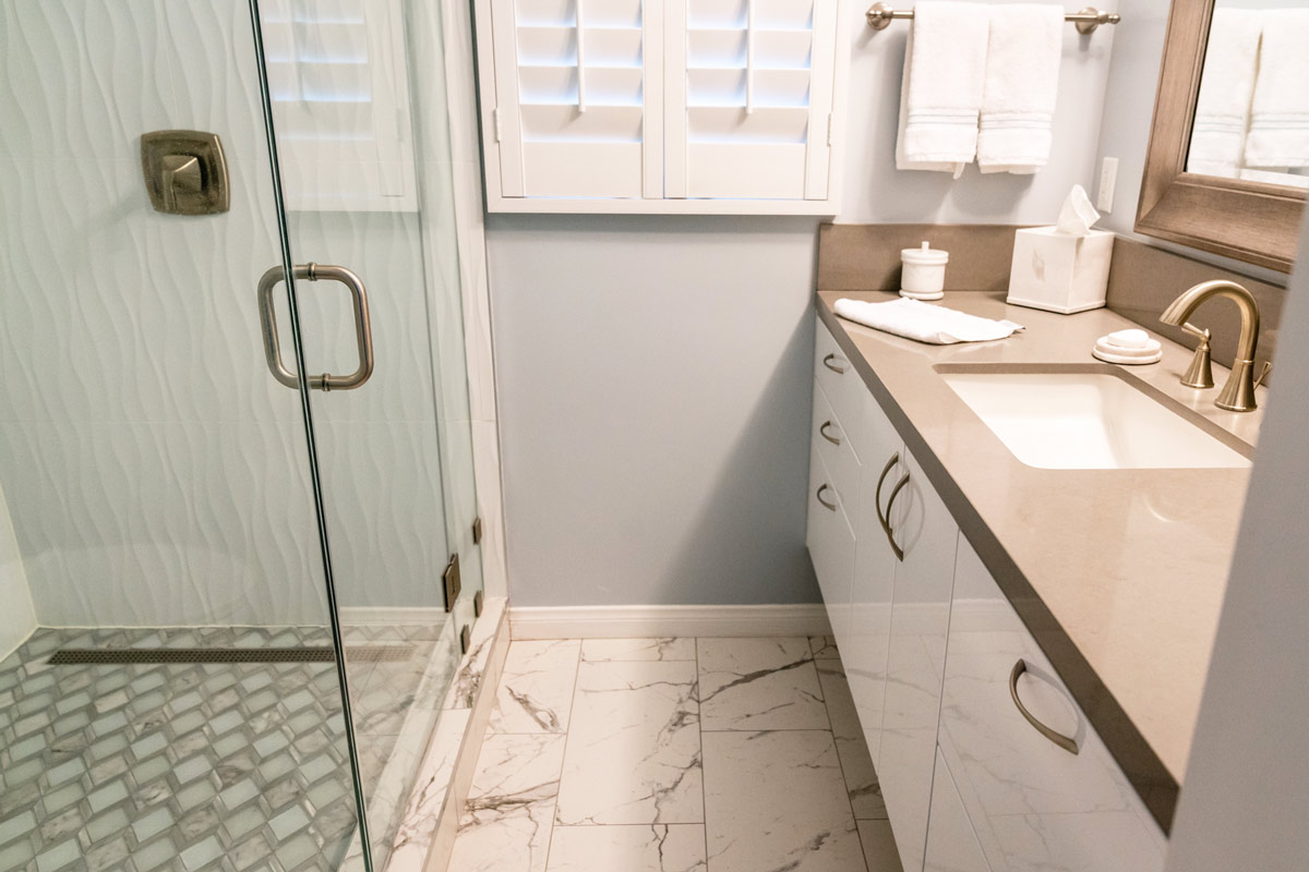 Remodeling A Small Bathroom - New Shower, Sink, Cabinets, & Flooring with Eco-Design.