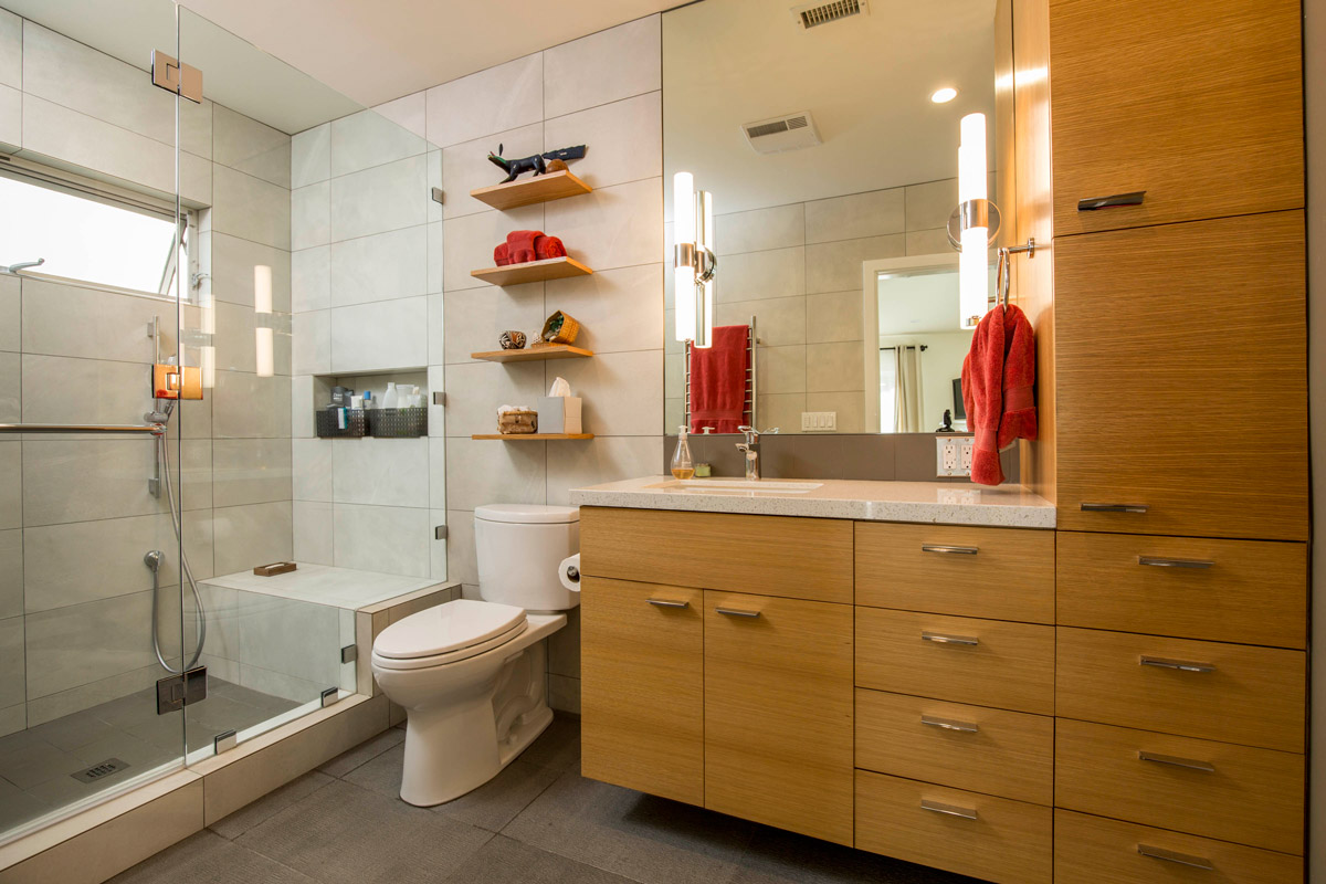 Standard Bathroom Remodel Including Custom Cabinetry, Shevling, Glass Shower Doors - True North Designs