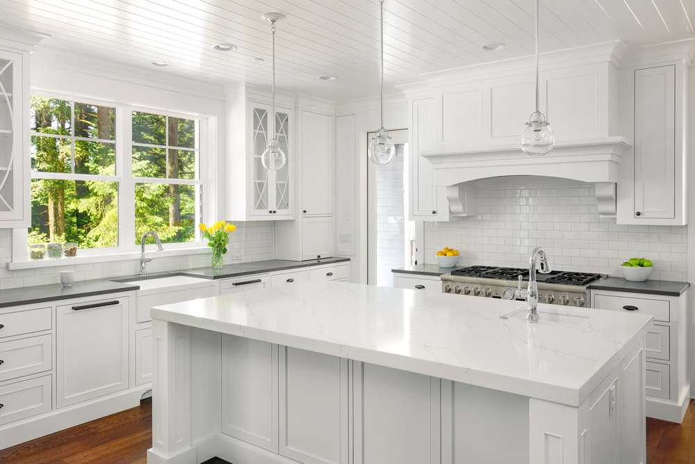 Kitchen Cabinets White With Marble Countertops