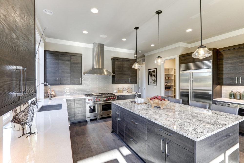 Quartz Countertops Kitchen Brown And Grey Cabinets
