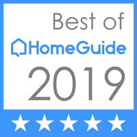 Best of HomeGuide 2019 letters inside white box, and underneath is a row of five white stars on light blue bar
